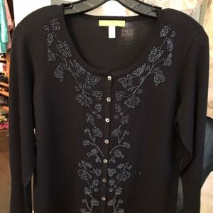 Sigrid Olsen 3/4 Sleeve beaded sweater